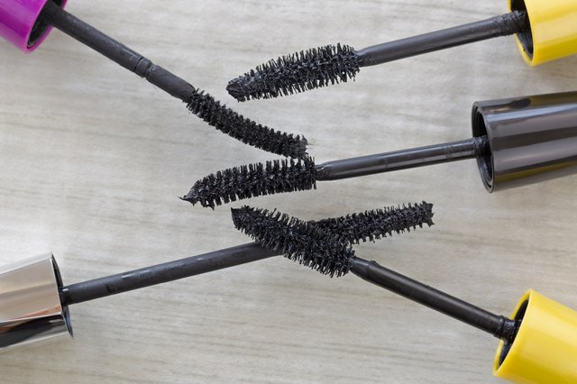 Various mascara brushes, cosmetic to enhance eyelashes from different brands