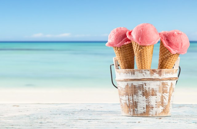 Fruit ice cream on beach