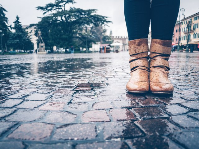Woman Boots under the Rain in Europe