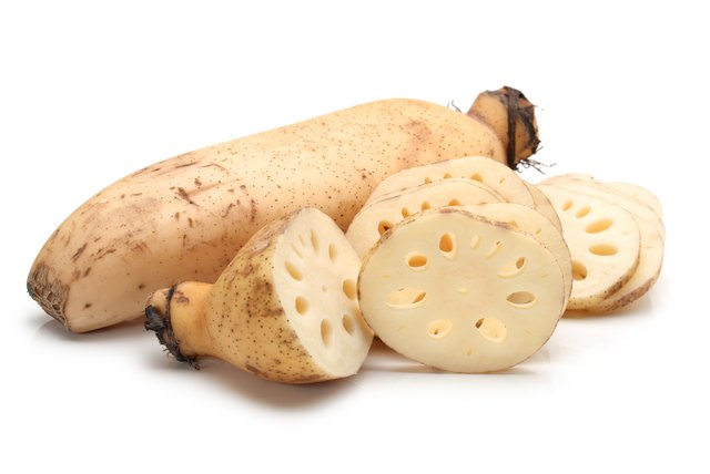 Lotus Root and Slices  isolated  on White Background