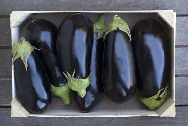 Box of aubergines