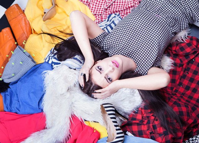young attractive stressed woman lying down