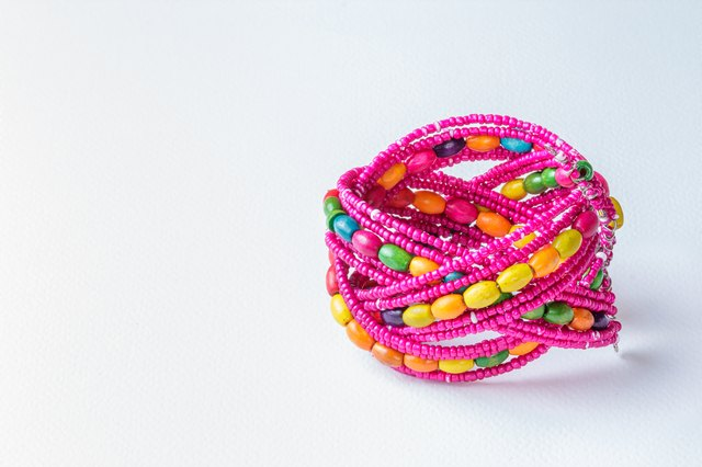 fashionable round bracelet on white background.