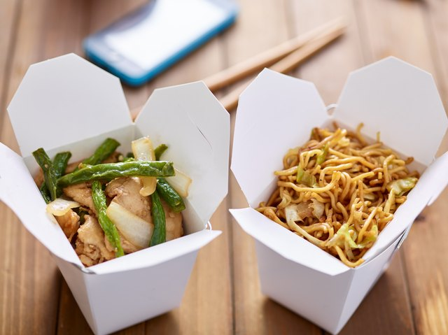 chinese take out food in boxes close