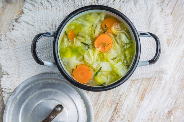 Cabbage soup in a pot
