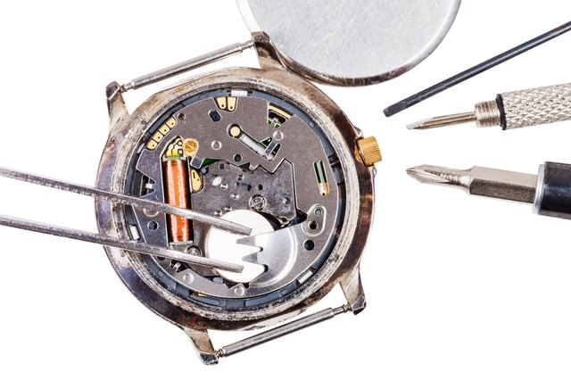 top view of replacing battery in quartz watch