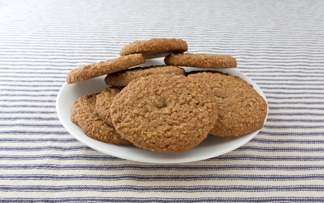 Oatmeal sugar free cookies on a white plate