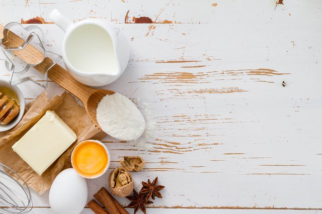 Baking ingredients - milk flour butter eggs