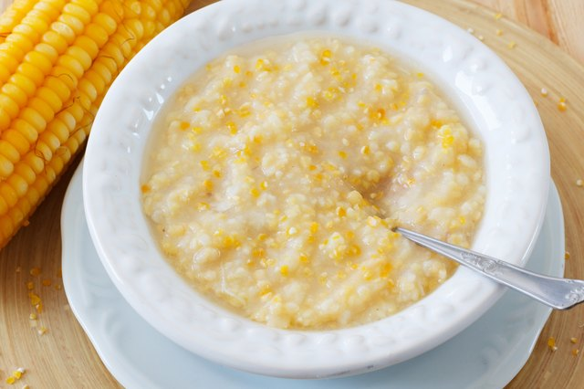 Corn porridge  in white plate