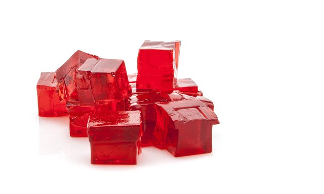 Cubes of red jelly