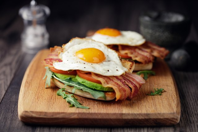 Healthy bacon fried egg brunch
