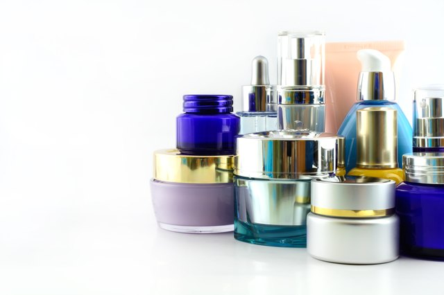 Set of various beauty products