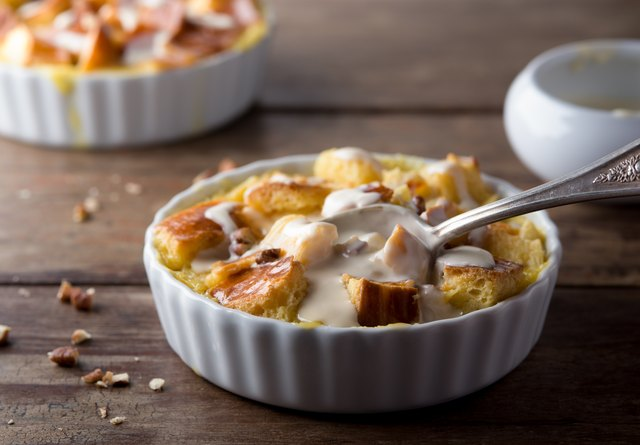 Bread Pudding with Walnuts and Sauce