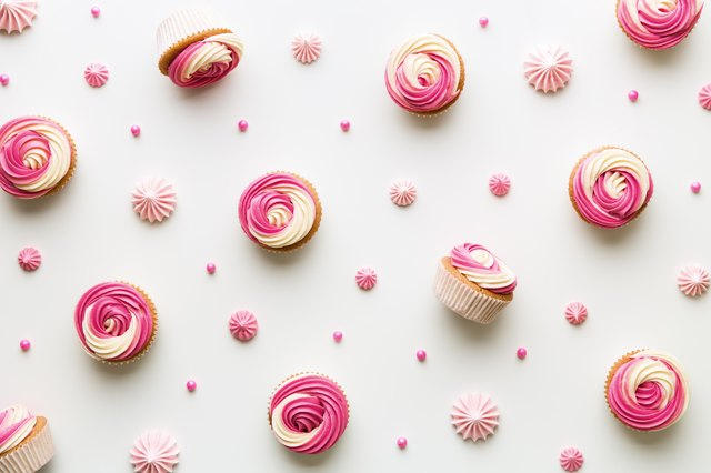 Cupcake background on white