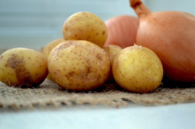 Raw potatoes and onions