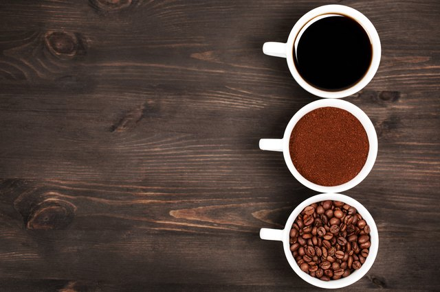 Different stages of preparing coffee