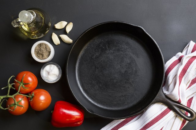 Cast Iron Skillet with copy area on black background with ingredients
