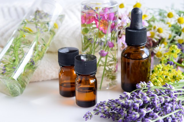 essential oils and natural cosmetics with herbs