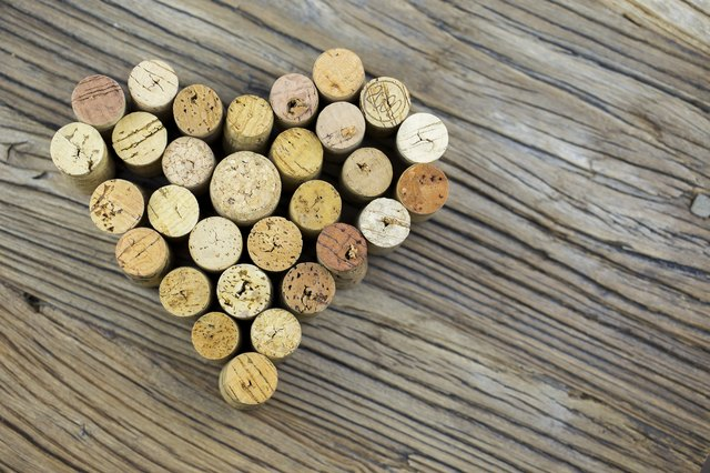 Wine corks form a heart shape image