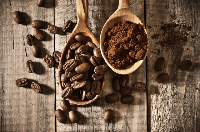 Coffee beans and ground close-up