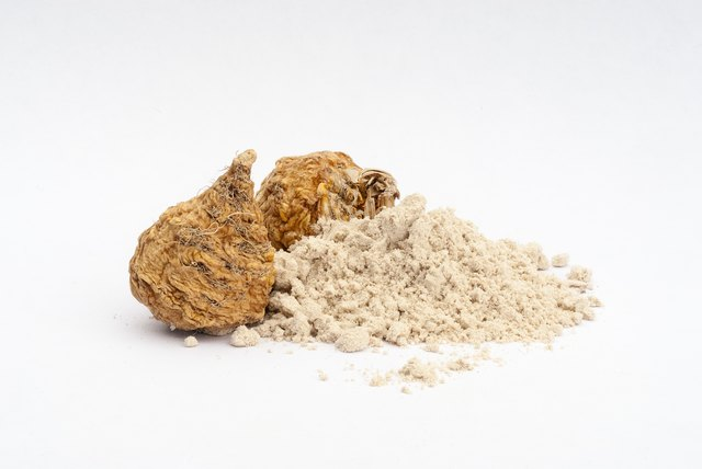 Peruvian ginseng or maca (Lepidium meyenii), dried root and  pow