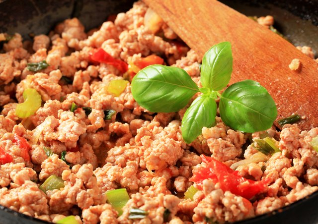 Close-up of ground meat stir fry cooking