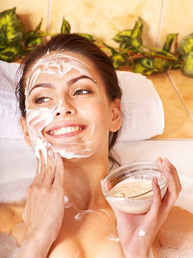 Natural homemade facial masks .