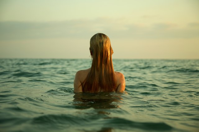 girl in sea waves