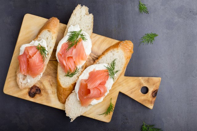 Baguette slices with cream cheese and smoked salmon