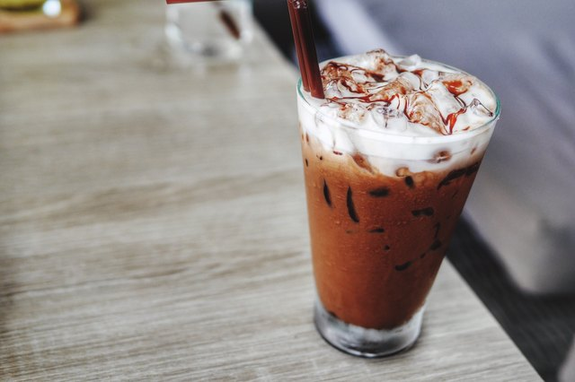 Iced Mocha Latte With Whipped Cream On Table