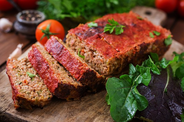 Homemade ground meatloaf with vegetables.