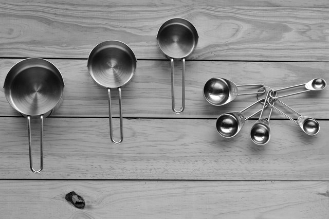 Flat lay of stainless steel measuring cups and spoons