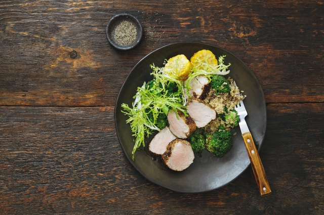 Grilled pork with quinoa and vegetables
