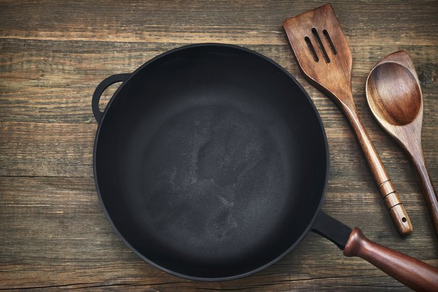 Empty Clean Cast Iron Frying Pan On Wooden Background