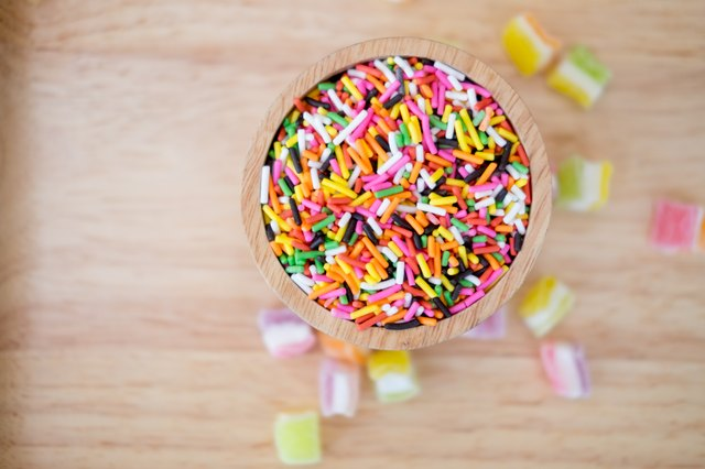 Sugar sprinkle dots, decoration for cake and bekery at a children's party