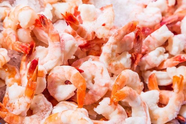 Closeup frozen cocktail shrimps