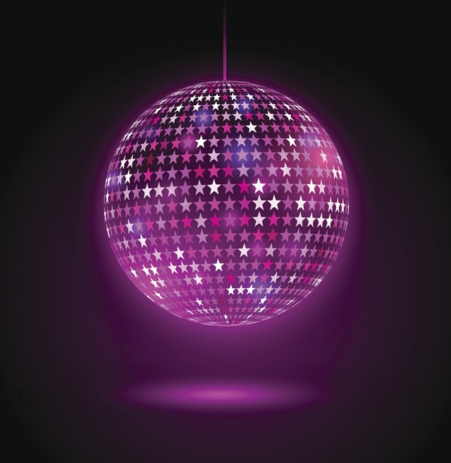 Glowing disco ball with stars.