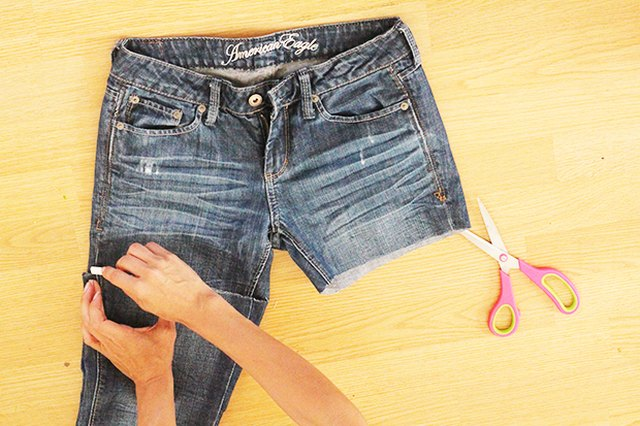 How to Make Distressed Jean Shorts From Old Jeans   LEAFtv