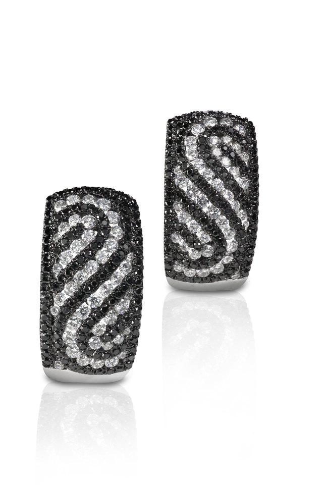 Black and White Diamond  Swirl Earrings