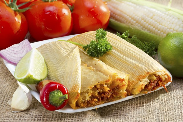 Mexican tamales on plate.
