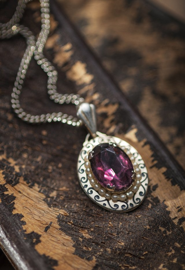 Vintage ruby pendant with chains