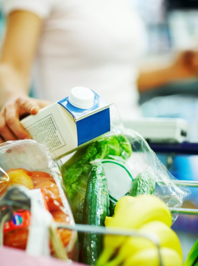 Closeup of a grocery items being collected by a woman