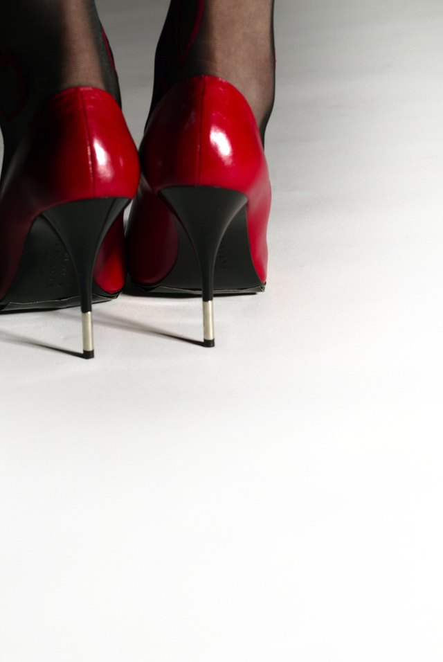Young Woman in Red High Heels, Rear View, Close Up, Copy Space