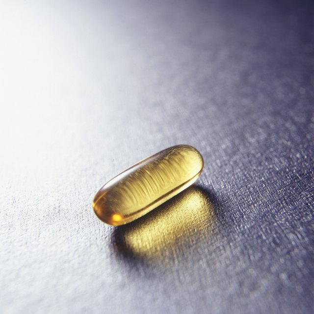 Vitamin E pill, (Close-up)
