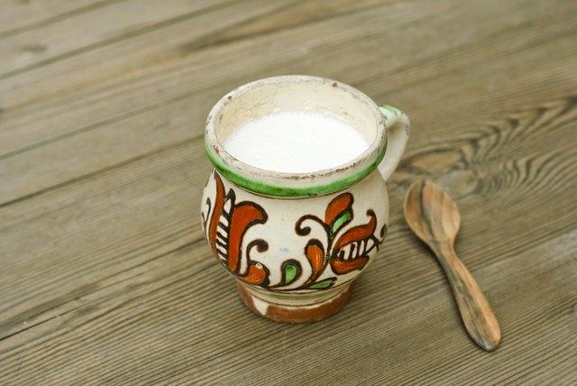 Yogurt in ceramic jug