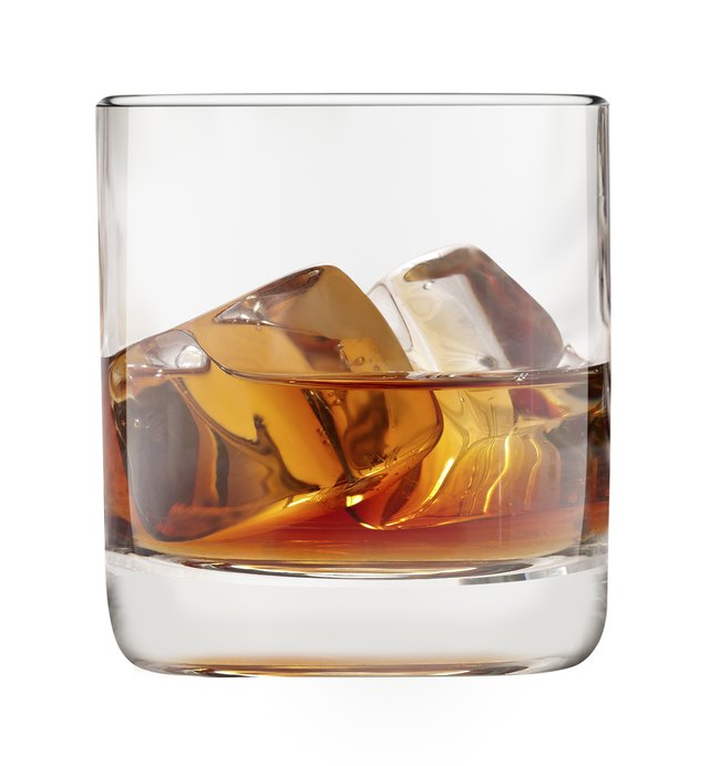 filled whisky glass with ice