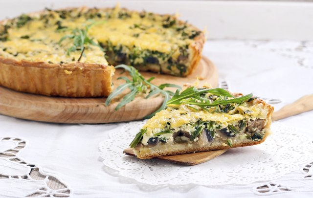 Rocket and mushroom tart