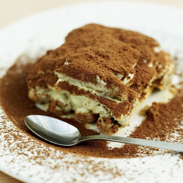 close-up of a portion of tiramisu on a plate