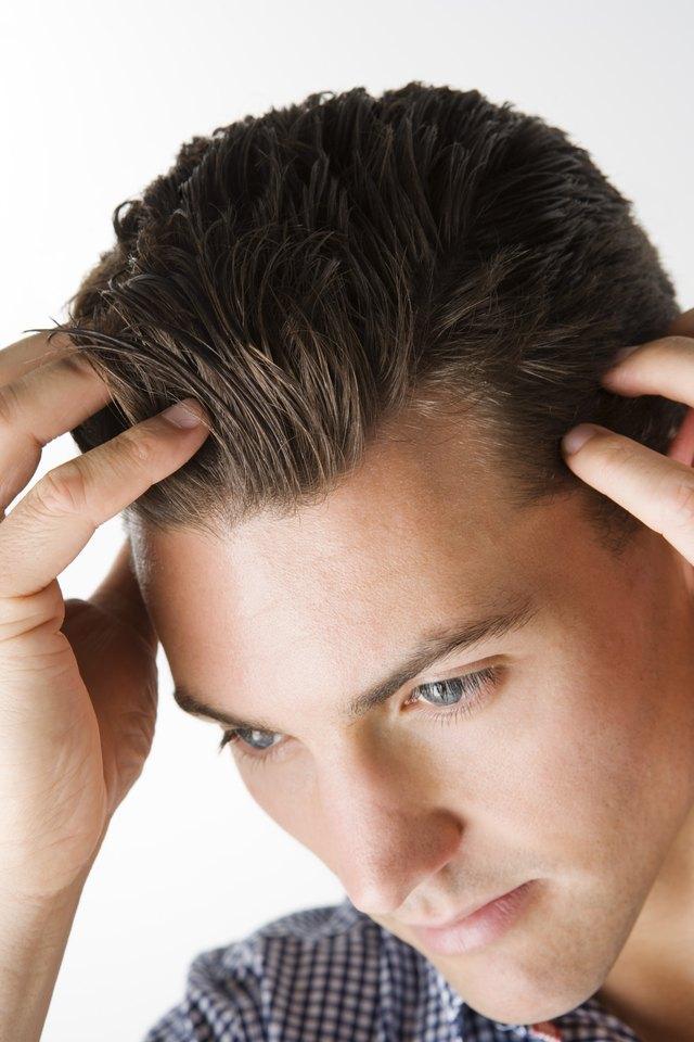 Man styling hair