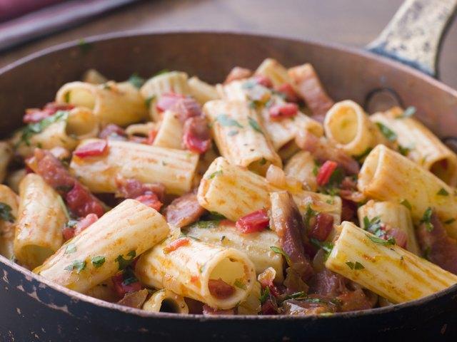 Pan of Rigatoni Pasta with Tomato and Pancetta Sauce